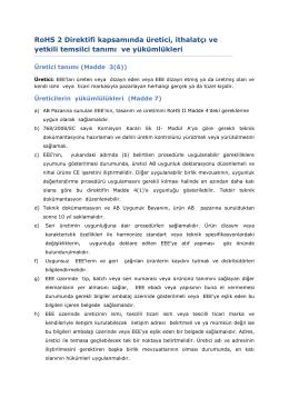 RoHS 2 Direktifi kapsamında üretici, ithalatçı ve yetkili