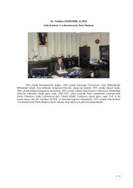 Dr. Neslihan (ÖZDEMİR) ALPER Gıda Kontrol ve Laboratuvarlar