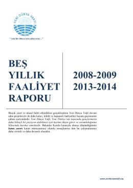 YDV 5 Yıllık Faaliyet Raporu