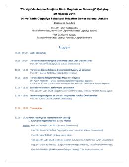 Jeomorfoloji Çalıştayı Program