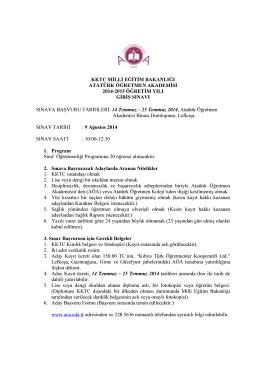 aöa 2014-2015 öğretim yılı giriş sınavı