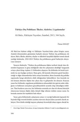 Türkiye Dış Politikası: İlkeler, Aktörler, Uygulamalar Ali Balcı