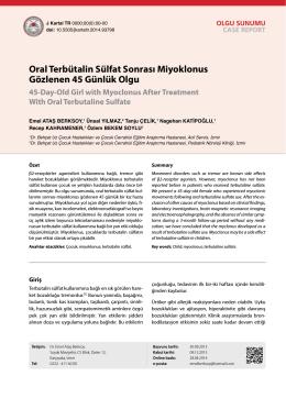Oral Terbütalin Sülfat Sonrası Miyoklonus Gözlenen