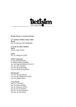Künye Sayfası - Iletisim Kuram ve Arastirma Dergisi