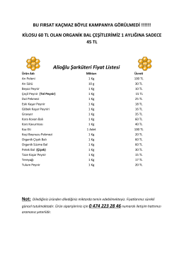 Alioğlu Şarküteri Fiyat Listesi
