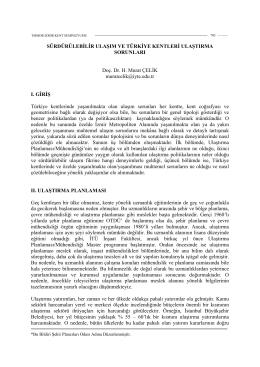Sürdürülebilir Ulaşım ve Türkiye Kentleri Ulaştırma Sorunları