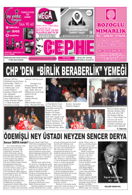 20.11.2014 Tarihli Cephe Gazetesi