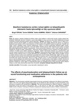 ġizofreni hastalarına verilen ruhsal eğitim ve