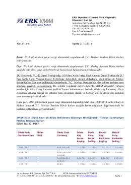 2014 yılı üçüncü geçici vergi döneminde uygulanacak TC Merkez