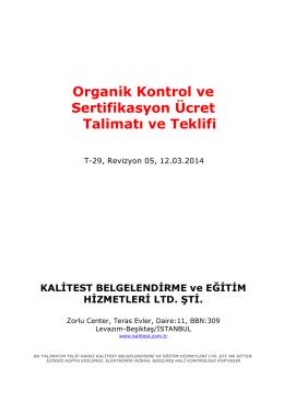 Organik Kontrol ve Sertifikasyon Ücret Talimatı