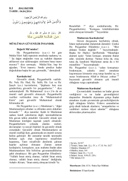 04.04.2014 Tarihli Hutbe : MÜSLÜMAN GÜVENİLİR İNSANDIR