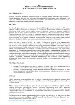 erzincan üniversitesi açık erişim politikası sayfa 1 tc erzincan