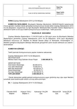 KONU:Çaybaşı Belediyesinin 2014 yılı Ek Bütçesi. KOMİSYON
