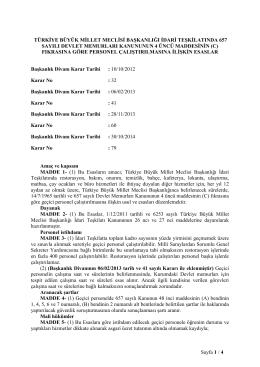 TBMM Başkanlığı İdari Teşkilatında 657 Sayılı Devlet Memurları