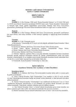 Konut Tahsis Yönergesi - Mehmet Akif Ersoy Üniversitesi