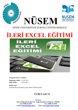 İLERİ EXCEL EĞİTİMİ - Niğde Üniversitesi