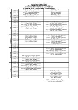 2014-2015 Bahar Tezsiz Yüksek Lisans (2. Öğretim) Ders Programı