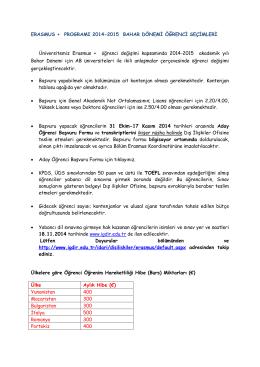 erasmus + programı 2014-2015 bahar dönemi öğrenci seçimleri