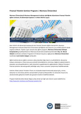 Finansal Yönetim Seminer Programı | Marmara