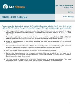 GSYIH – 2014 3. Çeyrek