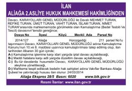 Aliağa Ekspres 28/5 Basın: 6020 www.bik.gov.tr