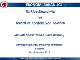 Türk Ekonomisinin Durumu, Pamuk ve Tekstil