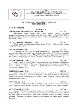 ı. güz yarıyılı - Osmaniye Korkut Ata Üniversitesi