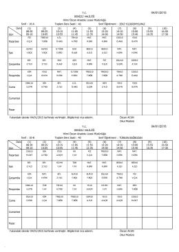 05/01/2015ten geçerli Sınıf Ders Programı