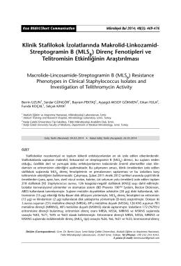 Streptogramin B - Mikrobiyoloji Bülteni