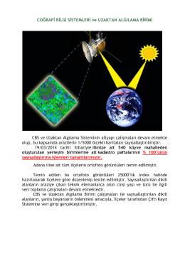 Coğrafi Bilgi Sistemleri ve Uzaktan Algılama