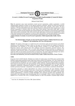 Evrensel ve Eşitlikçi Personel Uygulamaları ve Politik