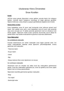 Uluslararası Kıbrıs Üniversitesi Sınav Kuralları