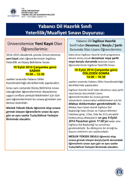 Yabancı Dil Hazırlık Sınıfı Yeterlilik/Muafiyet