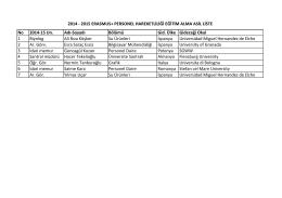 2014 - 2015 erasmus+ personel hareketliliği eğitim alma asil liste