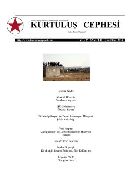 Eylül-Ekim 2014 - Kurtuluş Cephesi