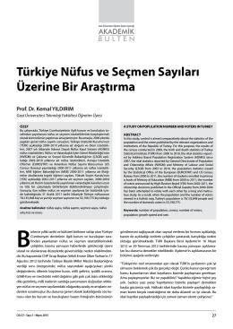 Türkiye Nüfus ve Seçmen Sayıları Üzerine Bir
