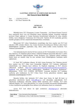 ELT Kod Tahsisleri Hk. - Sivil Havacılık Genel Müdürlüğü