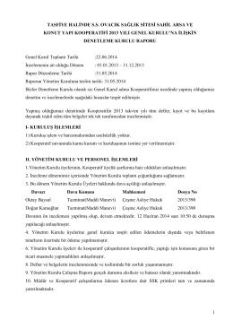 Denetim Kurulu Raporu - Ovacık Sağlık Sitesi