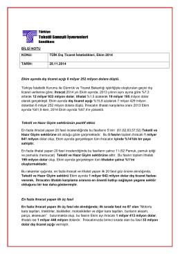 TÜİK Dış Ticaret İstatistikleri, Ekim 2014