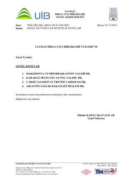 genel duyurular muhtelif konular 01.12.2014