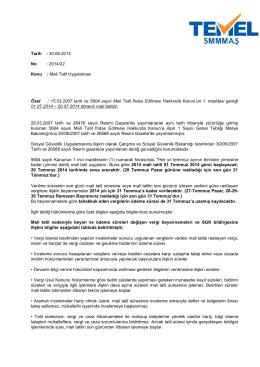 2014-22 Sirküler/Mali Tatil Uygulaması 30-06-2014
