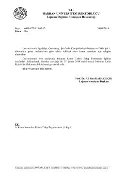 T.C. HARRAN ÜNİVERSİTESİ REKTÖRLÜĞÜ Lojman Dağıtım