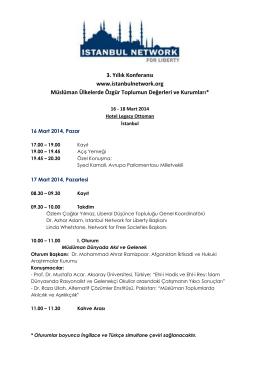3. Yıllık Konferansı www.istanbulnetwork.org Müslüman Ülkelerde