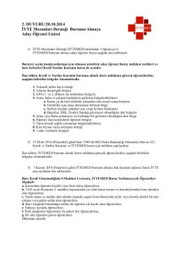 İYTEMED Burs Duyurusu- aday öğrenci listesi