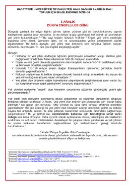 """3 Aralık """"Dünya Engelliler Günü"""" - Hacettepe Üniversitesi Tıp"""