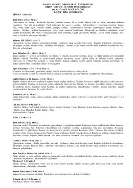 Spor Yöneticiliği Bölümü Ders İçerikleri
