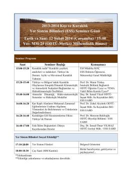 2013-2014 Kışı ve Kuraklık Yer Sistem Bilimleri (ESS) Seminer