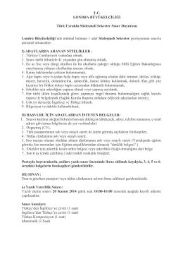 EK-Sınav Duyurusu - Londra Büyükelçiliği