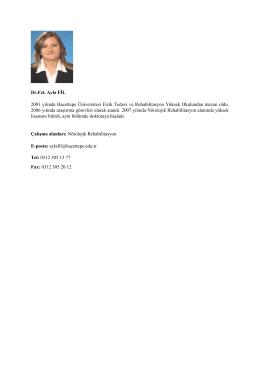 Dr. Fzt. Ayla FİL - Fizik Tedavi ve Rehabilitasyon Bölümü