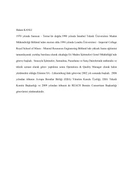 Hakan KANLI ETİ MADEN Operasyon ve Kalite Müdürü